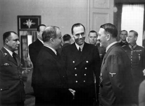 Hitler and Molotov with interpreter Gustav Hilger
